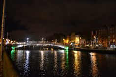 Night lights reflection on River Liffey in Dublin Light Reflection, Night Lights, Dublin, New York Skyline, Journey, River, The Journey, Rivers, Night Light