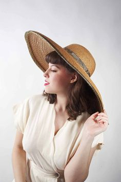Vintage Wide Brimmed Hat // 1980s KOKIN Straw Picture by FabGabs