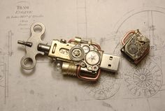 Steampunk USB flash drive by cybercrafts.deviantart.com on @deviantART