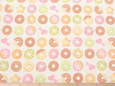 雑貨製作に最適!おいしそうなドーナツ柄・綿麻キャンバスプリント(オフホワイト) 110cm巾 綿-80%/麻-20% - そーいんぐ・すていしょん コミニカ