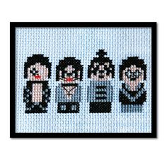 KISS the Band. Original Counted Cross Stitch Pattern PDF.