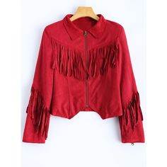 Fringed Cropped Faux Suede Jacket ($39) ❤ liked on Polyvore featuring outerwear, jackets, faux suede jacket, red fringe jacket, cropped jacket, red cropped jacket and fringe jackets