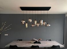 "Mix of the ""BY EVE"" Bulbs and Icons! beauty lamp light lighting combination of evebulbs and eveicons glass mouthblownglass smoke metallicsmoke dining table interiordesign interior customized create your own suspension design Kitchen Interior, Interior Design Living Room, Beauty Lamp, Dining Table Lighting, Internal Design, Modern Lighting Design, Suspension Design, Built In Seating, Cabin Interiors"