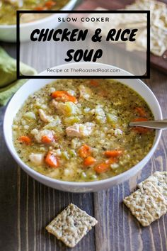Crock Pot Chicken Soup with Rice - an easy recipe made conveniently in your crock pot or slow cooker! Recipe post includes Instant Pot instructions. #crockpot #instantpot #slowcooker #pressurecooker #soup #chickenrecipe #healthy