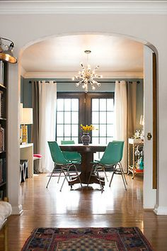 colorful dining chairs & lighting