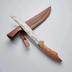 Custom Handmade Damascus Fillet Knife With Olive Wood Handle Damascus Steel Blanks, Skinning Knife, Fillet Knife, Dagger Knife, Damascus Knife, Folding Pocket Knife, Handmade Knives, Chef Knife, Knife Making