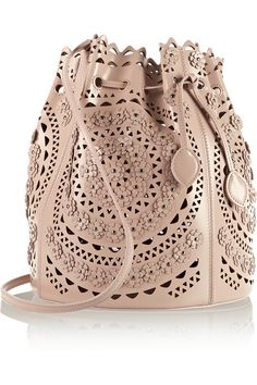 Alaïa|Laser-cut studded leather shoulder bag|NET-A-PORTER.COM