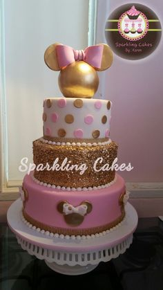 Minnie pink and gold cake