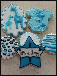 Blue Giraffe Baby Boy Shower Decorated Sugar Cookies - Cookie Barn