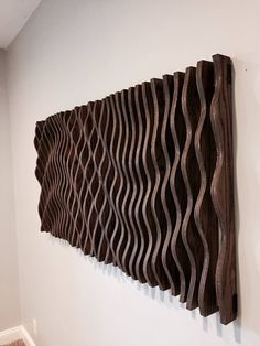 This parametric wall wave is a visually intriguing piece of wall art. Comprised of 47 individually cut pieces of cabinet grade oak plywood that spaces apart to displays a sweeping and organic parabolic wave. This piece is 58 long, 28 wide, and 3 thick Art Sculpture En Bois, Modern Sculpture, Wall Sculptures, Sculpture Ideas, Wooden Wall Art, Wooden Walls, Wall Wood, Wall Art Designs, Wall Design