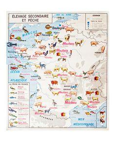 Mapa cartel escolar vintage. Francia, años 60 – Hóptimo