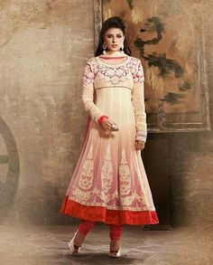 Beige shaded anarkali suit   1. Beige  georgette suit2. Floral embroidered neckline3. Beige flare with embroidered motif on suit4. Comes with matching bottom and dupatta 5. Can be stitched upto size 44 inches