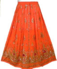 Woman Block Print A-Line Skirt Orange Gold Green Modest Fashion Beach Wear Skirt #Handmade #ALine