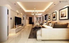 ceiling designs for living room modern design with unique lighting hanging white sofa furniture sets flat tv on the wall best relaxing wall painting color ideas and white ceramic tile flooring