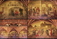 Detail Wall Paintings Cardiff Castle Designed by William Burges