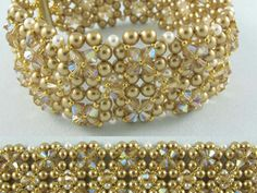 Hollywood Squares bracelet is worked from a base of 4mm and 3mm beads in a version of Right Angle Weave. The large squares are embellished with crosses of 3mm or 4mm beads and seed beads. Kit includes full instructions with diagrams and photos. Gold pearls with topaz crystals ... That Bead Lady