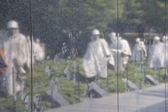 Korean Memorial. Don't know if you can see it, but there are faces etched into the marble, then the reflections from the field.