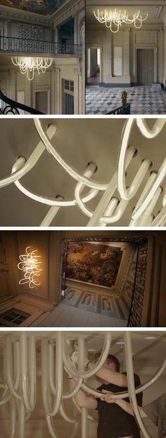 Mathieu Lehanneur's Modern LED Chandelier Weaves Through the Ceiling of an Historic Chateau