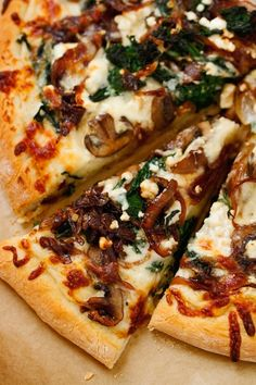 Caramelized Onion Feta Spinach Pizza with White Sauce