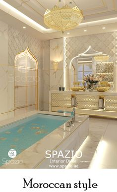 Moroccan pattern elements in bathroom interior design and decoration for a luxury house. More moroccan style design ideas for home interiors in luxury moorish interior design style from Spazio Interiro Decoration in Dubai.Visit our website! Mansion Interior, Luxury Homes Interior, Luxury Home Decor, Modern Interior, Modern Furniture, Moroccan Interiors, Luxury Homes Dream Houses, Bathroom Design Luxury, Dream Bathrooms