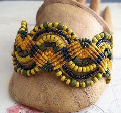 Mustard, Ginger, Nutmeg Beaded Macrame Bracelet Navy and Mustard Palette. $43.99, via Etsy.