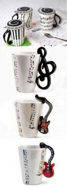 Funny music themed coffee mugs with lids.