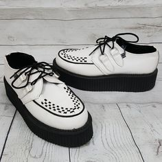TUK white black punk goth vegan leather creepers shoes mens US7 EUR40  womens 9  TUK  CasualShoes ce8aed25f26