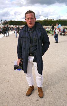 The boss, Scott Shuman (The Sartorialist)!!!  Desert Boots x White pants x Jeans Shirt x Blue Eyes x Blue coat!