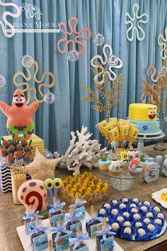 Venha se apaixonar por esta linda Festa Bob Esponja!!Imagens Fabiana Moura Projetos Personalizados.Lindas…