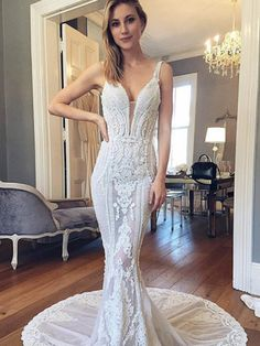 Long Wedding Dress, Lace Wedding Dress, See Through