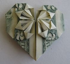 cash heart Nice way to gift cash Another is to wade up bills and stuff into sock or for Christmas into Stocking.  I received one while in collage and it was sooo fun. Origami Heart, Origami Box, Origami Flowers, Origami Animals, Chinese Restaurant, Origami Tutorial, Waiting, Lunch, Heart Origami
