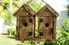 His-And-Hers Outhouse Bird House from DutchCrafters Amish Furniture. A cute wedding gift, or a fun, functional accent for your backyard, this solid wood, unique, hanging birdhouse is available in 4 colors. #birdhouse #wooden #unique #backyard