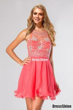 2015 Halter A Line Sexy And Cute Homecoming Dress Short/Mini Chiffon&Tulle Beaded - HomeComing Dresses - Homecoming | Cocktail | Party