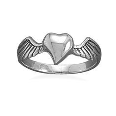 Womens Sterling Silver Heart with Wings Ring, Solid .925 Sterling, Gift Boxed $21.99     The heart measures 7mm x 7mm.      The Shank measures a comfortable 3mm width.      Crafted in Solid .925 Sterling Silver and Hallmarked .925.      Oxidized to give it a vintage look.      2.1g Total Item Weight      Lead and Nickel Free, Non-Allergenic      Arrives in a gift box with a keepsake pouch!  This ring is available in whole sizes 5, 6, 7, 8 & 9.
