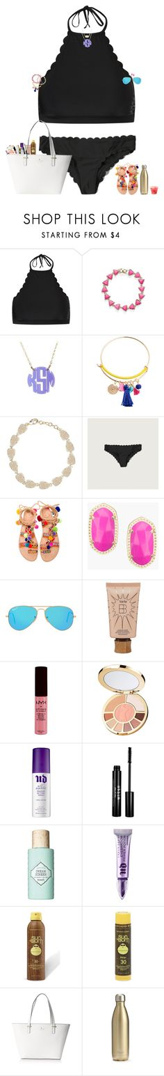 """beach vibes☀️"" by maggie-prep ❤ liked on Polyvore featuring New Look, Kendra Scott, Moon and Lola, Abercrombie & Fitch, Elina Linardaki, Ray-Ban, tarte, NYX, Urban Decay and Stila"