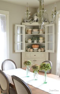 ironstone for fall in cute white farmhouse corner cabinet - Dining Room Corner Hutch