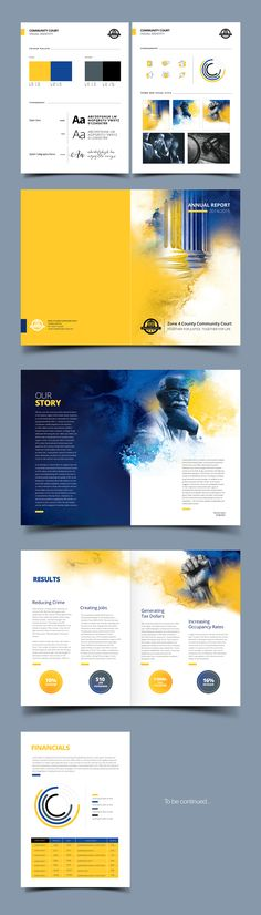 Courthouse Annual report brochure design for a non-profit business with bold, watercolor elements. Book Design, My Design, Graphic Design, Watercolor Design, Brochure Design, Portfolio Design, Design Projects, Design Inspiration, Design Ideas