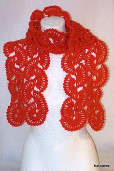 Crochet red scarf crochet neckwarmer crochet shawl by MaKatarina