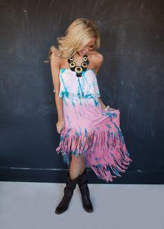 Fringe and Ruffles Dress Coral