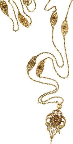 Art Nouveau Diamond, Freshwater Pearl, Plique-à-Jour Enamel, Gold Necklace The 18k gold pendant-necklace features plique-à-jour enamel, enhanced by a rose-cut diamond, accented by a freshwater pearl. Gross weight 66.30 grams.