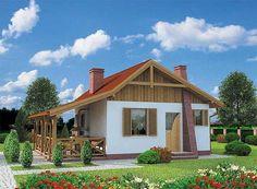 Projekt domu parterowego Tuluza dom letniskowy o pow. 35,62 m2 z dachem dwuspadowym, z werandą, sprawdź! Exterior Design, Interior Inspiration, Shed, Outdoor Structures, Studio, House Styles, Home Decor, Summer Houses, Cottages