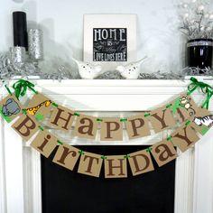 Happy Birthday Jungle Theme / Birthday Party Banner / Safari Birthday / Zebra, Elephant, Giraffe and Monkey / Photo Prop / Kids Party