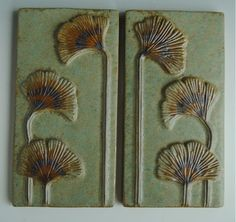 Art Nouveau Arts and Crafts Style Tiles Ginkgo Leaves