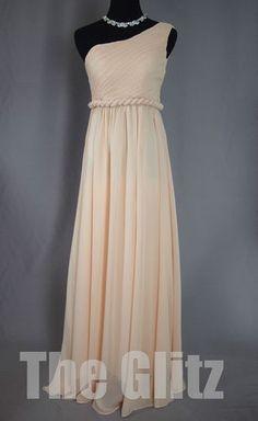 Stock One Shoulder Pleated High Waist Long Bridesmaid Dress Nude Pink Custom   eBay