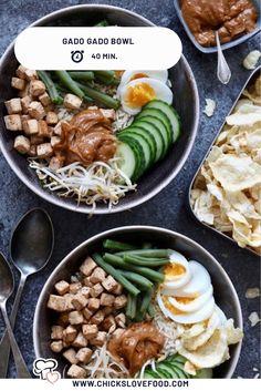 Gado Gado bowl - Another! Easy Healthy Recipes, Quick Easy Meals, Asian Recipes, Whole Food Recipes, Poke Bowl, Gado Gado, I Love Food, Good Food, Tofu