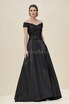Jasmine Bridal | Jade Style J195065 in Black | Audrey Sequin Lace/Mikado with Acetate Lining | Portrait Neckline | A-Line | Sweep Train