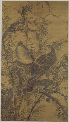 Two Hawks in a Thicket, Ming dynasty, century Lin Liang (Chinese, ca. ink and pale color on silk 58 x 33 in. x 84 cm) Asian History, Art History, Chinese Painting, Chinese Art, Asian Artwork, Ink In Water, Traditional Paintings, Classic Image, Culture