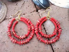 Red Coral Heshi Double Hoop Earrings Red On by SinginHoundBeadz Red Hot Coral Double Hoops for Super Bowl, Valentines, Daytona 500, Bike Week or just for the hell of it!  <3