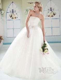 Brooch Sweep Train Strappless Ball Gown Tulle White Sexy Wedding Dresses#wedding #dress