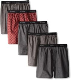 Men's Boxers Cotton - Buy Hanes Men's Classics 5 Pack Printed Woven Exposed Waistband Boxer, Assorted Print, X-Large Reviews